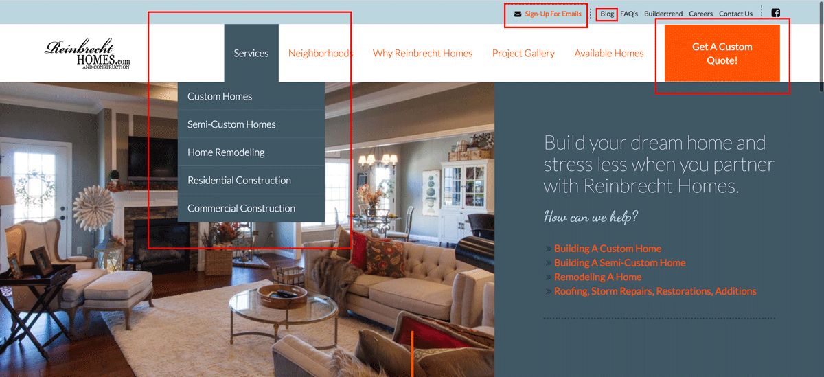 Reinbrecht Homes | Improved Navigation Examples
