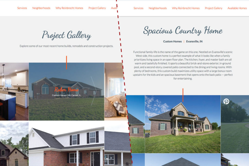 Reinbrecht Homes | Website Redesign Addition of Project Galleries